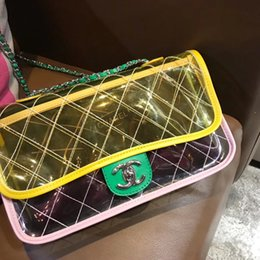 Wholesale Hot Crochet - 2018 Hot Sell brand new PVC bag women clear Sweet fresh macaron double flap transparent shoulder bag ladies genuine leather handbag gifts