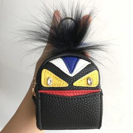 Wholesale leather fur backpack - Black-Cute black green Real Fur Monster Bag Leather Mini Micro Backpack Charm Coin Purse Pendent