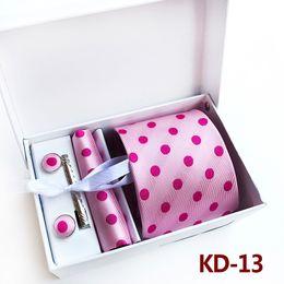 Wholesale Tie Clip Wedding - 3.35inch (8 Cm) Men Business Tie Wedding Normal Wide Arrow Dot Men Tie Handkerchief, Pin and Cufflinks Gift Box Packaging Birthday Present