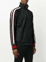 Wholesale running clothing men - luxury designer brand best version Autumn men clothing red green striped Tracksuits letter print zipper suit sweatshirt coat sweatsuit