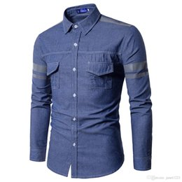 c6d1b5c1597 Jeans Shirt Men Autumn Fashion Men Jeans Shirt With Two Pockets Slim Fit  Casual Denim Long Sleeve Solid Shirts Tops J180758