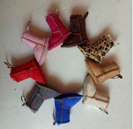 Wholesale Boots Ring - 7cm Mini Fur snow boots Keychain car keychain handbag keyring pendant snow boots key ring Bag Pendant KKA4137