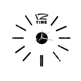 Wholesale Clock Stickers For Wall - Modern DIY Wall Clock Large Frameless 3D Wall Clock Mirror Stickers for Home Living Room Office Decor (Black)