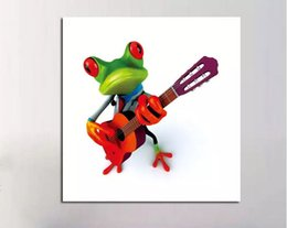 Wholesale Cool Canvas Paintings - Framed, Lots Wholesale , Cool playing the violin Frog, High Quality genuine Hand Painted Wall Decor Animal Art,Multi Sizes can FK56#