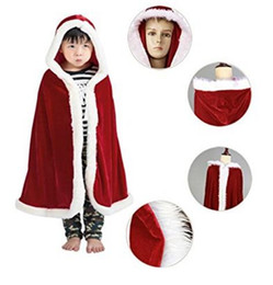 Wholesale Little Girls Capes - Good Quality Red Christmas Cloak Tea Length Little Girls' Winter Cape With Faux Fur Custom Made Free