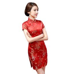 Vestito di Cheongsam sottile del collare del basamento del drago cinese Phoenix di modo etnico da yukata seta rossa fornitori