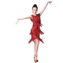 Wholesale Leather Stage Clothes - igh Quality competition Dance Sequins Tassel Performance Clothing Latin Dance Stage Performance Latin Cha Cha Samba Rumba Competition ...