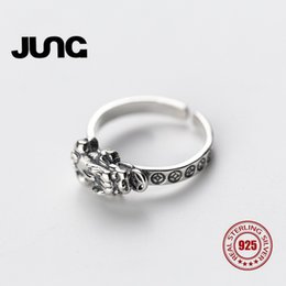 Wholesale Fortune Women - whole sale2018 JUNG Chinese God Beast Toad Frog Fortune Money Ring For Women 925 Sterling Silver Bague Anillos Mujer Jewelry Wedding R8053