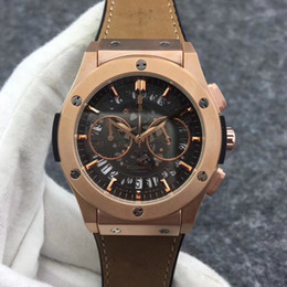 Wholesale Mens Watches Big Bang - 2018 AAA New Rose gold Mens F1 Luxury quartz chronograph movement Watch Big Bang mens Watches Fashion Sports Wristwatch free shipping