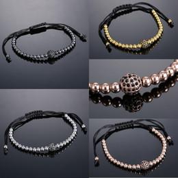 Wholesale Macrame Style Bracelets - Handwoven Black Corduroy Bracelet Adjustable Studded Zircon Bronze Bracelet Accessory Round Beads Braided Macrame Bracelet 4 Styles D953Q