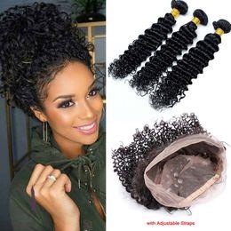 Wholesale brazilian bands - Deep Wave 360 Band Lace Frontal With Bundles 8A Unprocessed Brazilian Human Hair Wefts Deep Curly With 360 Lace Band Frontal Closure