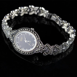 Wholesale Butterfly Process - New Limited Edition Classic Butterfly 925 Silver Pure Thai Silver Bracelet Watches Thailand Process Rhinestone Bangle Dresswatch