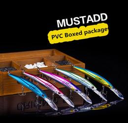 Leurres de pêche au laser vairon en Ligne-PVC retail boxed Package Minnow Laser Leurre artificiel bass fishhook 14cm 12.4g en train de couler lent Magebass swimbait appâts de pêche