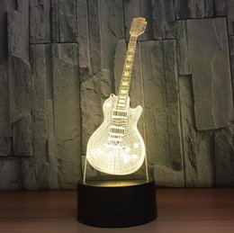Wholesale touch lamps for bedside table - New Year Gift For Children Indoor Decoration 3D Guitar Shaped USB Night Light LED 7 Colors Flashing Kids Bedside Acrylic Table Lamp