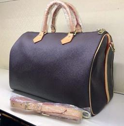 Nuevos bolsos de cuero real online-Envío gratis Nueva marca de moda Señora Real oxidación Cuero acelera 25 cm 30 cm 35 cm bolso con correa para el hombro monedero bolsa
