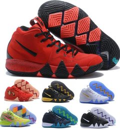 Wholesale Thinnest Fabrics - New Kyrie Irving Basketball Shoes 4 Men Man Mens Grey Sale Sport BHM Kyries Shoe 4s IIII Thin Mesh Real China Sneakers Hombre