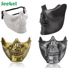 half mask lower Coupons - Jeebel 1 pc Lower Half Face Scary Skull Skeleton Mask Halloween Party Cosplay Party Decor Masquerade Masks