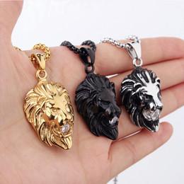 Wholesale Lion Head Silver Pendants - Men's Lion Head Pendants&Necklace For Men Black Silver Gold  Color Chain Necklace Luxury Brand Jewelry Hip Hop Jewelry Cool For Men