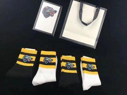 Wholesale tiger embroidery fabric - designer socks embroidered designer socks tiger wolf head original box striped embroidery unisex cotton sport socks 4pairs men women sock