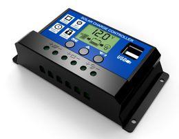 Wholesale Regulator Solar Panels - Solar Charge Controller 10A 20A 30A Dual USB 5V Output 12V 24V LCD Display PWM Panel Controller Battery Charge Regulator Timer