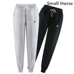 Wholesale Pants Horses - Winter Autumn 100% Cotton Sweatpants Mens Small Horse Embroidery Track Pants Casual Baggy Lined Tracksuit Trousers Jogger Harem Pants Men