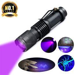 Wholesale wholesale aluminum led flashlights - UV Flashlight Mini CREE LED Torch 395nm Blacklight Wavelength Violet Light UV LED Flash Light Torcia Linterna Aluminum Lamp