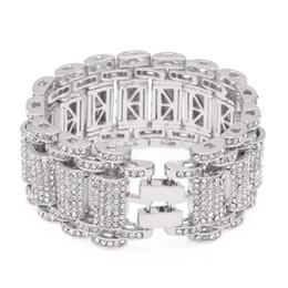 La industria pesada construye brazalete de pulsera de diamantes exagerada para hombre, hip-hop, acero inoxidable. desde fabricantes