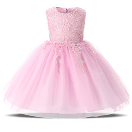 Wholesale Evening Dresses For Little Girls - Baby Little Girl Lace Princess Dress Children's Evening Dresses Girl Party Dress Graduation Prom Gown For 4 5 6 7 8 Year