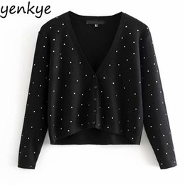long sleeve cropped cardigan sweater Promo Codes - Women Fashion Rivet Knitted Cardigan Outerwear Lady Sexy V Neck Long Sleeve Black Crop Sweater HHWM1682