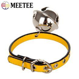 Sinos grandes on-line-Meetee pet collar dog sino oversized cat colar de couro bonito cinto de rebite de metal dos desenhos animados ponto acessórios