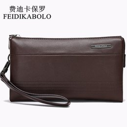 Wholesale Large Red Clutch - FEIDIKABOLO Luxury Leather Long Wallet Men Pruse Male Clutch Wallets Handy Bags Large Capacity Carteras Mujer Zipper Wallets