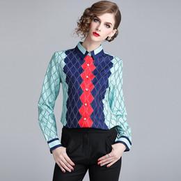 682b68ffc Casual Mujer Popelín Camisas 2018 Primavera Nueva Manga Larga Impresión Geométrica  Blusas Blancas Camisas Para Mujer Tops Blusas Blusa Femenina