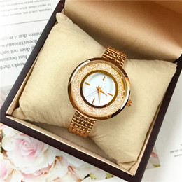 roll belt Promo Codes - Luxury Rolling Diamonds Women watches Golden Color Belt Lady Wristwatch High Quality Lady Dress watch Free box Sexy Jewelry Buckle Gifts