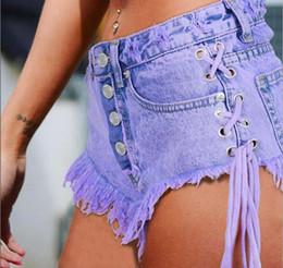 pulsanti coloranti Sconti popolare Jeans Pantaloncini Donna Pantaloni estivi In cotone Vita alta Mini Entrambi Side Tie Sling Mini Short Buttons Fasciatura Sexy Denim Pantaloncini Jeans