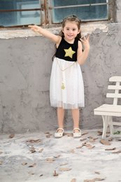 Wholesale maxi dresses for kids - baby girl cute dresses fashion stars dress for kids princess party tutu sundress sleeveless maxi outfits toddlers clothes 2 colors