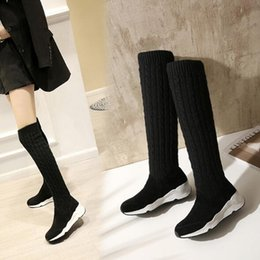Wholesale woollen long dress - FACNDINLL hot sale fashion winter boots suede leather+woollen warm shoes women knee high boots black wedges dress shoes woman long boots