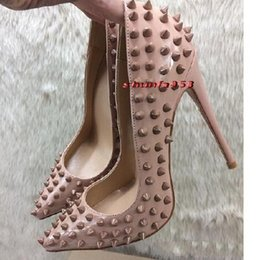 Wholesale Injection Pumps - 2018 New Luxury Brand RED BOTTOM High Heels Black Beige Rivet Point With Shallow Mouth Women's Dress Shoes Fashion Spikes Pumps 8 10 12CM