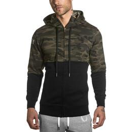 Sweater Herren Running Fitness Sport Casual Camouflage Kapuzen Zip Shirt Tops Langarm Jacke