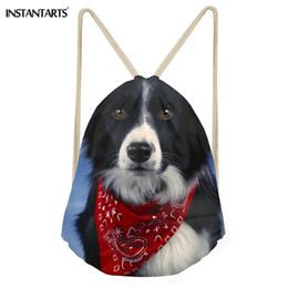 cão impresso mochilas Desconto INSTANTARTS 2018 mochila nova Border Collie Drawstring Bag Mulheres Homens Casual School Mini Bagpack 3D cão bonito Imprimir Feminino daypack
