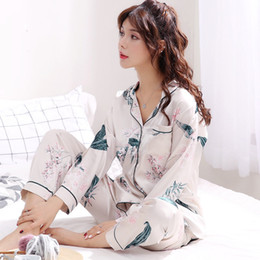 Autumn Emulation Silk Pajamas Stes Maglia da donna a maniche lunghe in seta  ghiaccio invernale Donna Set due camicie da notte pigiama Sleep Lounge XXXL  ... da35b9e7b