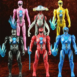nuovi modelli hanno condotto luci Sconti Nuovo arrivo Giocattoli per bambini Power Ranger Modello Action Figures Boy Toys 6 pz / set Led giocattoli bambola leggera Power Ranger 10 set T1I929