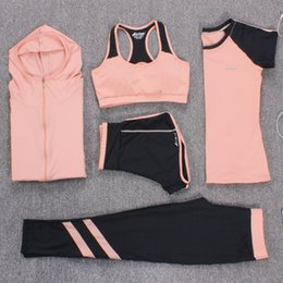 plus size sleeveless pant suits Coupons - New Yoga Suits Women Gym Clothes Fitness Running Tracksuit Sports Bra+Sport Leggings+Yoga Shorts+Top 5 Piece Set Plus Size M-3XL