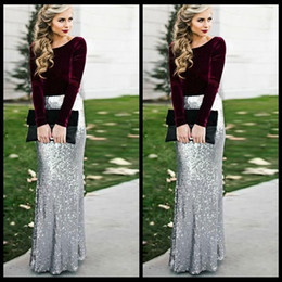 Wholesale Top Designs Long Gowns - Burgundy Velvet Top Long Sleeves Silver Sequins Skirt Long Evening Dresses 2018 New Design Mermaid Prom Party Celebrity Gowns