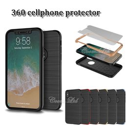 Wholesale Blue Iphone Case Pc - ultra thin 360 cellphone protector tpu + pc + tempered glass mobile case smart phone case for iphone x 7 8 plus samsung s8 plus note 8