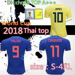Wholesale Large Ivory - large size XXL XXXL 4XL Quality home and away 2018 WORLD CUP 18 COLOMBIA National Team Home Away Soccer Jersey FALCAO JAMES Football Shirts