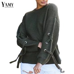 Wholesale Gray Lace Sweater - 2017 autumn winter knitted sweater side lace up women sweaters and pullovers long sleeve o-neck loose knit tops
