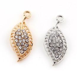 Deutschland 33 * 15mm Silber Gold Farbe Kristall Legierung Blatt Charms Halskette Armband Erkenntnisse Anhänger DIY Schmuck Versorgung