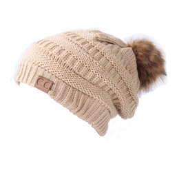 Wholesale Ladies Winter Knitted Hats Red - Hot Winter Winter Hat Lady Women 'S Knitted Cap Autumn Winter Men Warm Hat Cc Skullies Brand Heavy Hair Ball Twist Beanies Letter