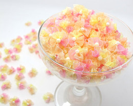 Wholesale Chiffon Rose Bows - 40 Pieces Chiffon Ribbon Rosette Flower,Flower with Pearl Center,Rose Buds-pink yellow