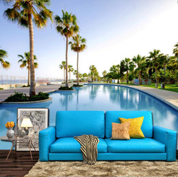 Wholesale Modern Swimming - 3d large fresco wallpapers wallpaper living room bedroom television background wall Maldives vacation seaside swimming pool